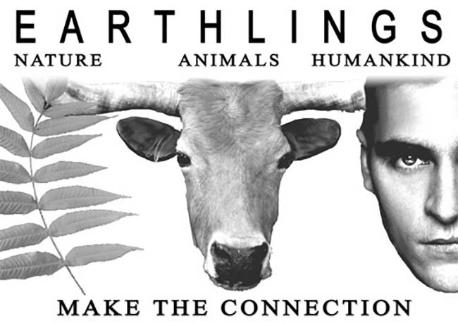 The promotional image for one of the vegan documentaries; Earthlings. Showing a leaf, cow and man's face in a line, below the title.