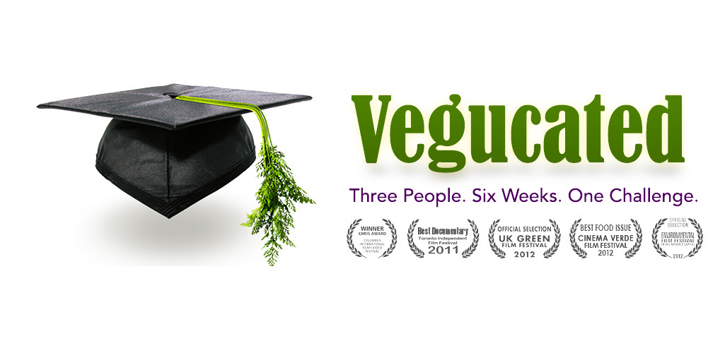 The promotional image for one of the vegan documentaries; Vegucated. Showing a mortar board hat with a carrot top instead of tassels, next to the title.