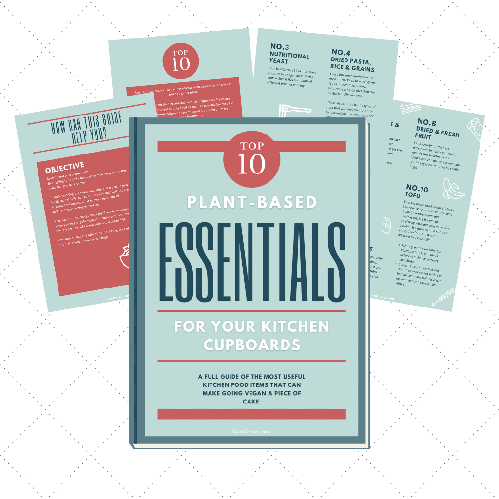 Plant Based Kitchen Cupboard Essentials Pages laid out to provide a preview of the PDF