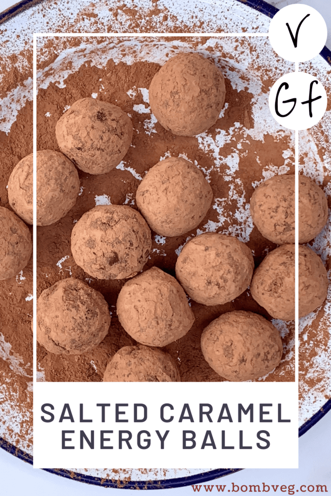 """s pinterest pinnable image of the salted caramel bliss balls on a white plate with the text overlay saying """"salted caramel energy balls"""" V - for vegan, and GF - for gluten-free"""