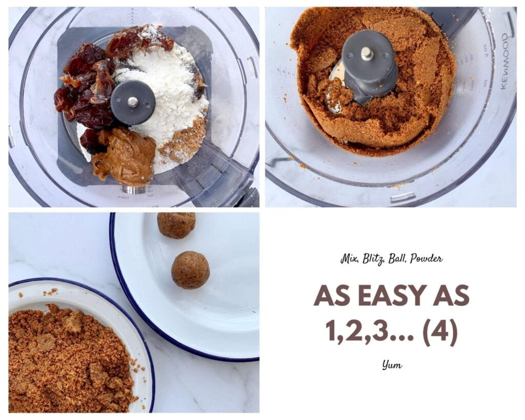 a collage of three photographs of different stages of preparation for vegan salted caramel fudge energy balls - the BEST recipe