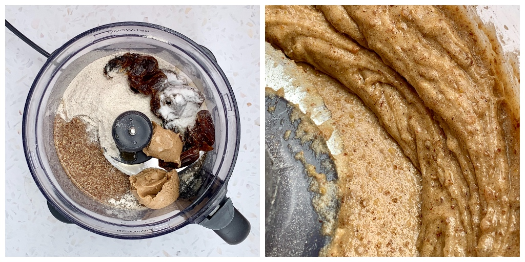 collage images of the ingredients in a blender next to a close up of the blended ingredients for the vegan peanut butter cookie recipe