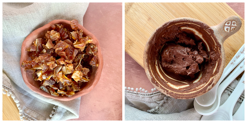 side by side pictures of chopped dates and cacao paste ready to fill the bananas