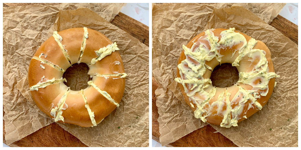 2 bagels showing the placement of the cuts and how much butter is in each one, then with the butter mix onto too.