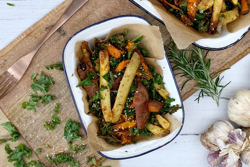 healthy air fryer cooked fries / chips with kale recipe final cooked product in a tin dish