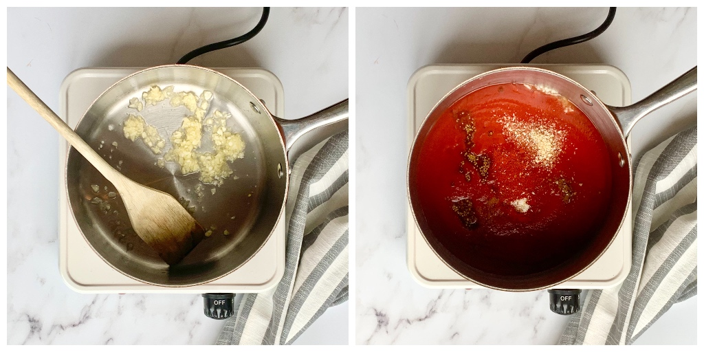 a collage of two pans on the hob, the first with the crushed garlic in, and the second with all of the ingredients for the sugar free ketchup recipe