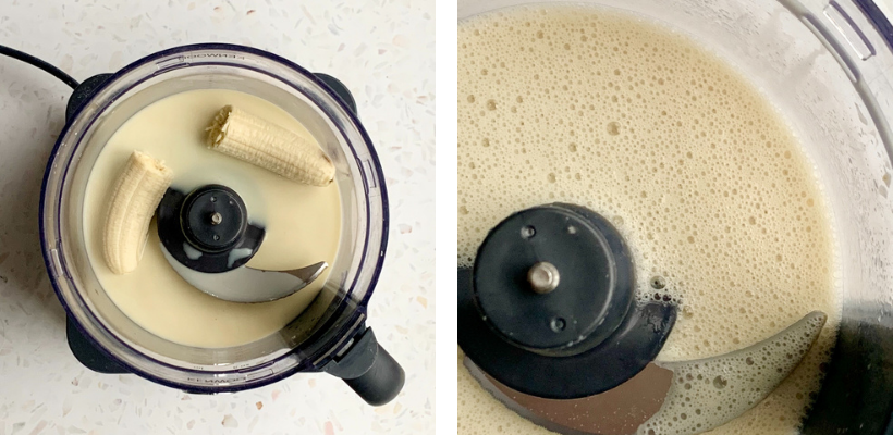 vegan banana pancake recipe wet ingredients in a blender; a before and after blending comparison to show the froth on top of the mix. Banana, oat milk, vanilla essence and apple cider vinegar