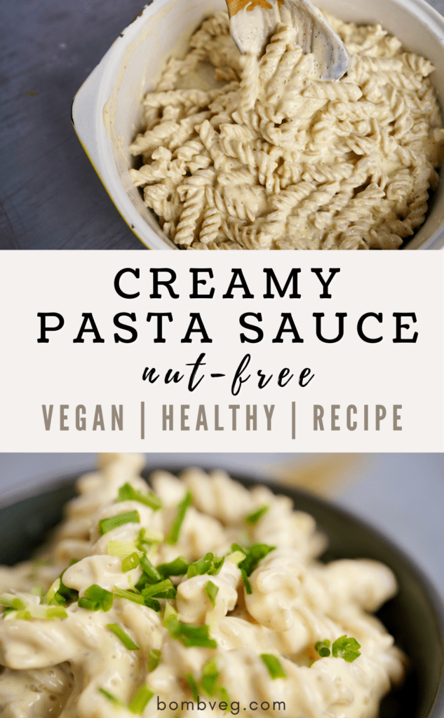 a pintrest ready image with two images of the finished pasta dishes on, one close up and topped with finely chopped spring onions and the other is the pasta being stirred in a pan, with a text that reads 'creamy pasta sauce nut-free, vegan, healthy, recipe'