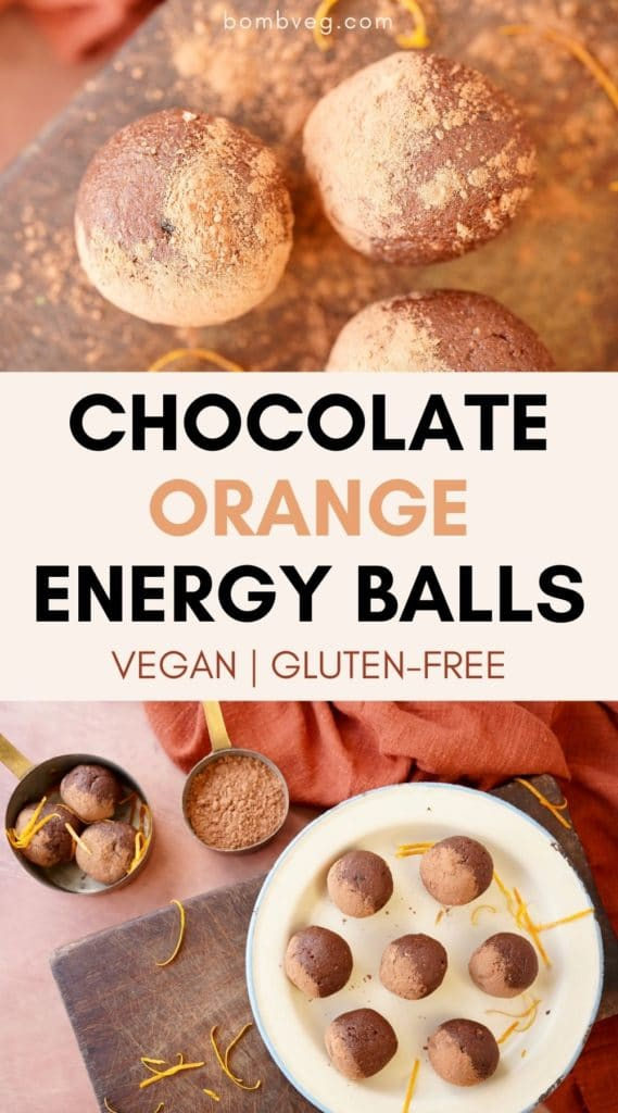 two images of the bliss balls, one a close up and another of the balls on a plate that have been dusted with cacao. Text in the middle reads 'chocolate orange energy balls, vegan, gluten-free'