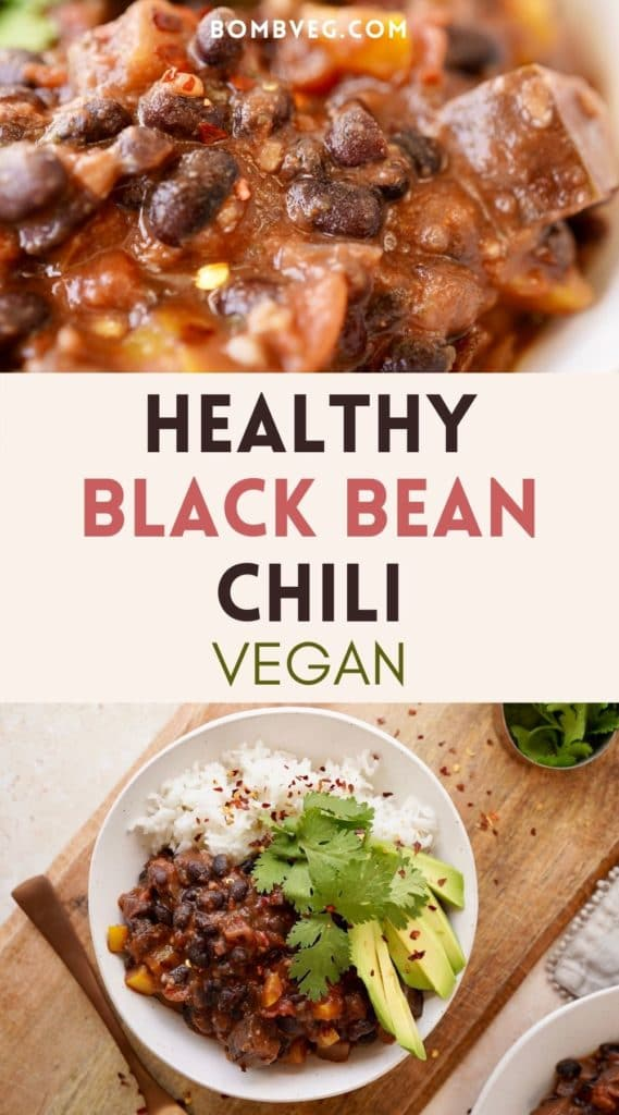 two images of the vegan black bean chili, the top is a close up and the bottom is the bowl from above served with rice, cilantro and avocado. Text in the middle reads 'healthy black bean chili, vegan'