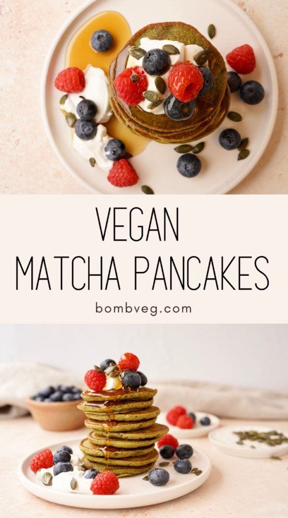 two images of the vegan matcha pancakes in a stack with toppings