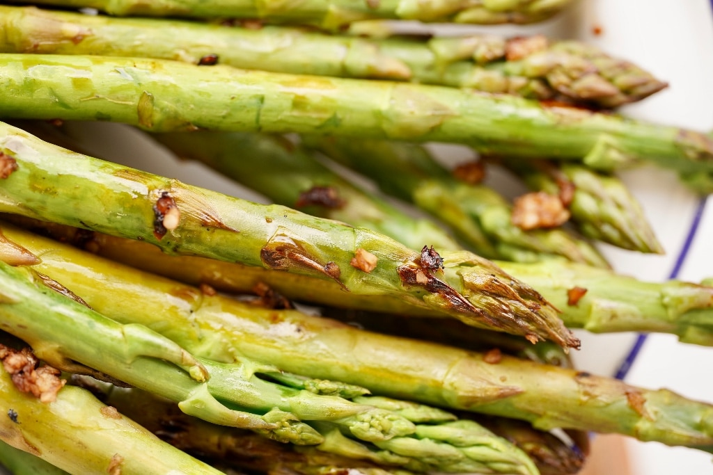 a close up of the skillet asparagus spears