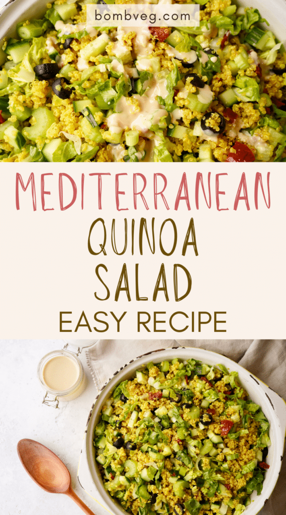 two images of the quinoa salad, the top is a close up and the bottom is the salad in a bowl with the dressing next to it. Text in the centre reads 'mediterranean quinoa salad, easy recipe'