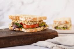 two sandwiches with the vegan chickpea tuna salad mayo filling