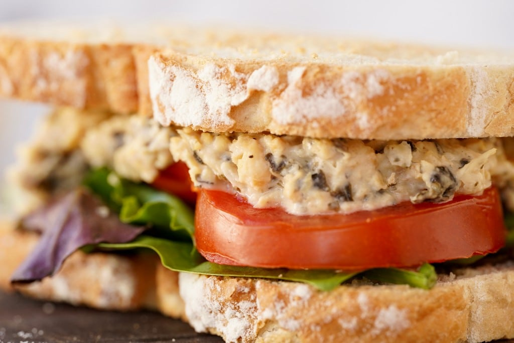 chickpea tuna salad in a toasted sandwich