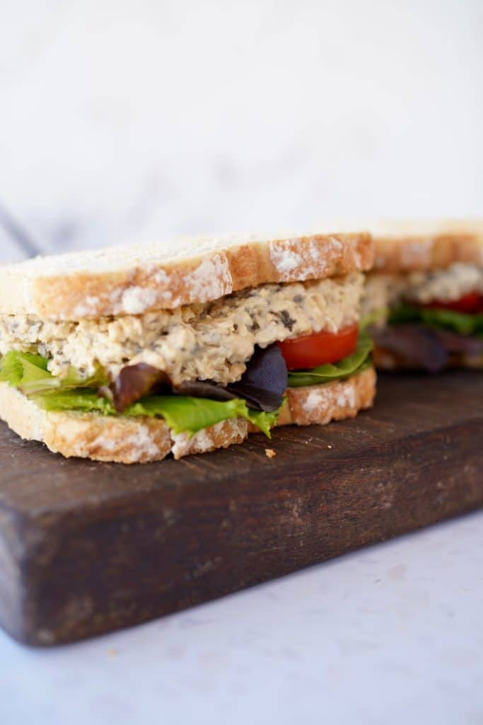 two sandwiches with the vegan tuna mayo filling