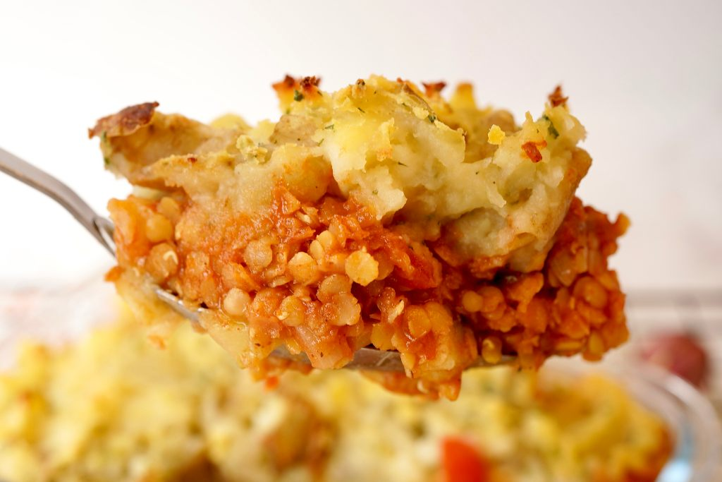 a spoon full of the red lentil shepherds pie